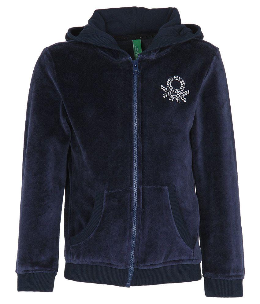 United Colors of Benetton Navy Velour Zippered Sweatshirt