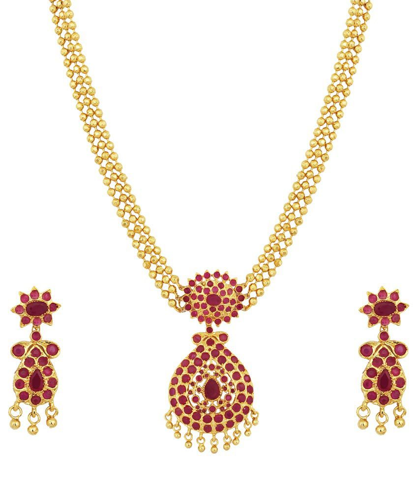 Kushi red gold plated ruby stone ball necklace set buy kushi red kushi red gold plated ruby stone ball necklace set aloadofball Images