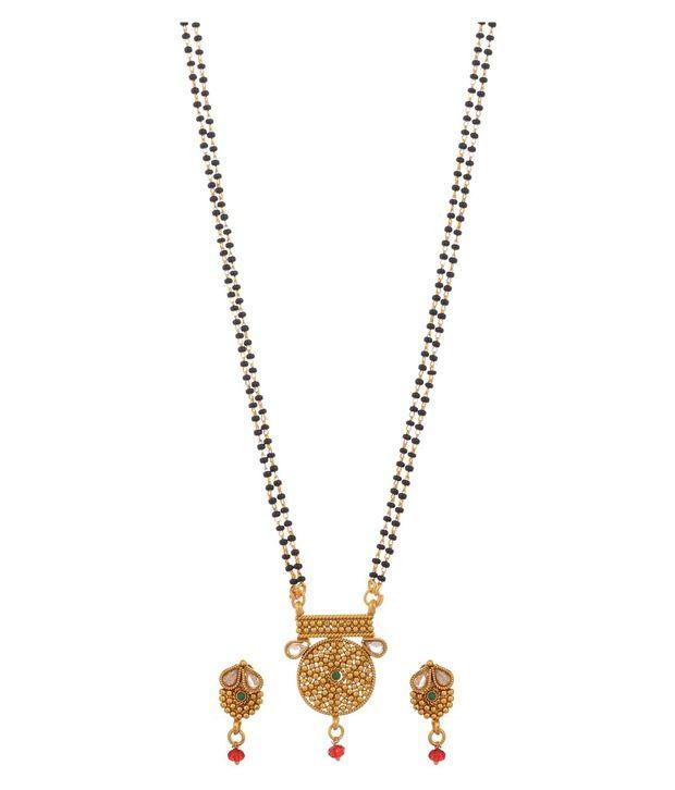 Trishul Golden Alloy American Diamond Mangalsutra Set