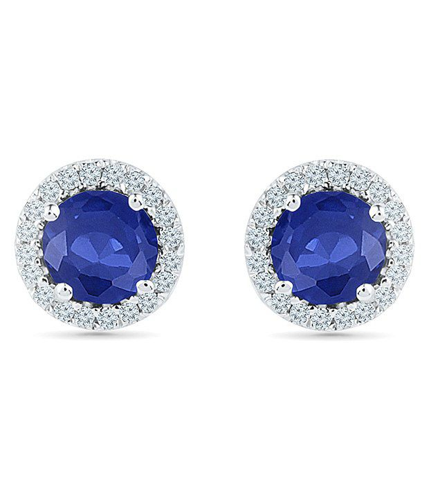 Radiant Bay 14Kt White Gold EGL Certified Blue Sapphire Studs