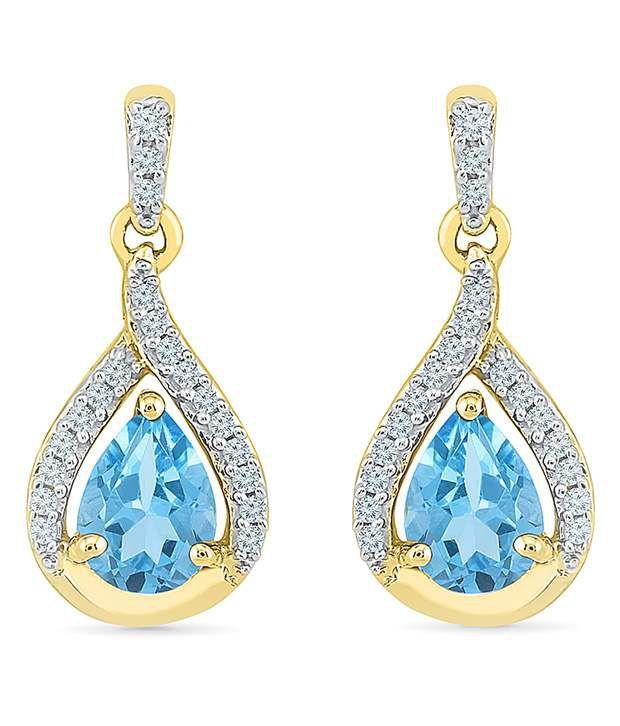 Radiant Bay 14Kt Yellow Gold EGL Certified Blue Topaz Drops