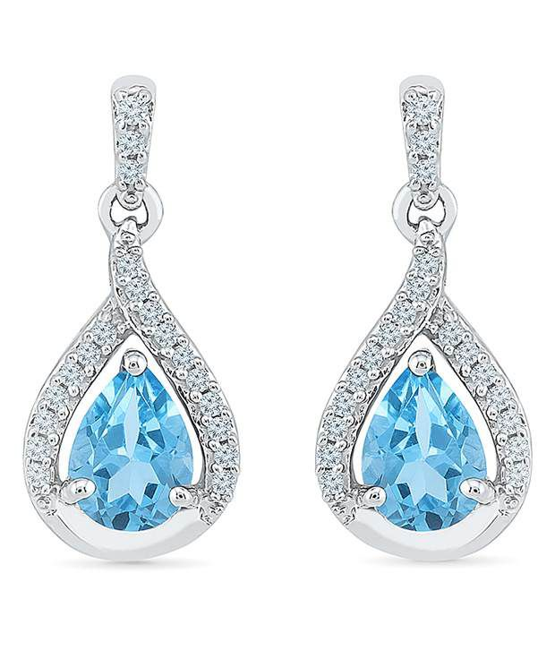 Radiant Bay 18kt White Gold EGL Certified Blue Topaz Drops