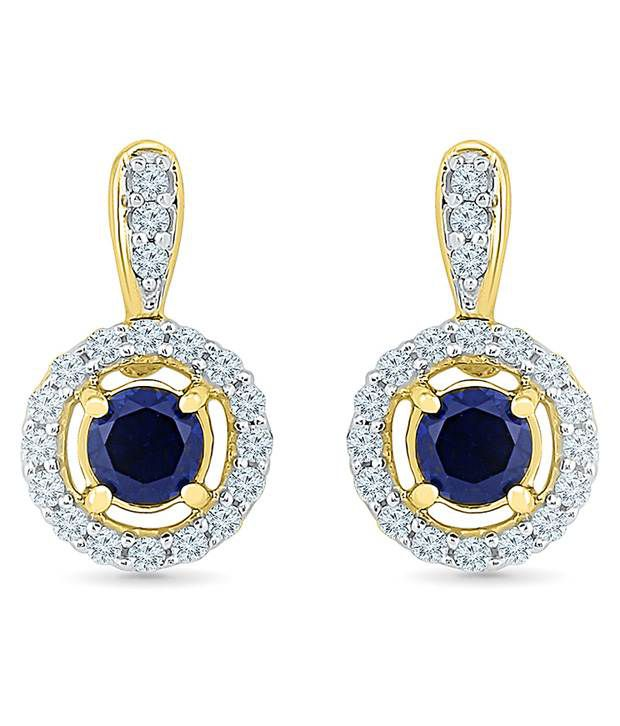 Radiant Bay 18kt Yellow Gold EGL Certified Blue Sapphire Drops