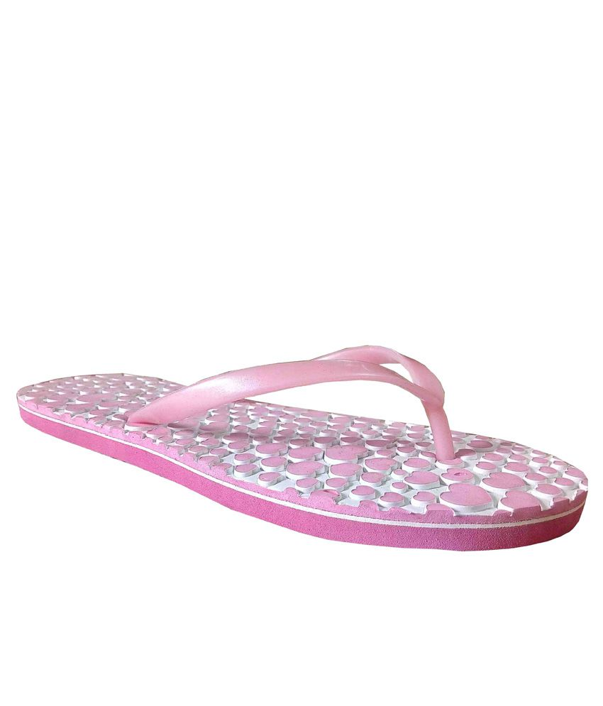 Unispeed Hearts & Accupressure Pink Slippers