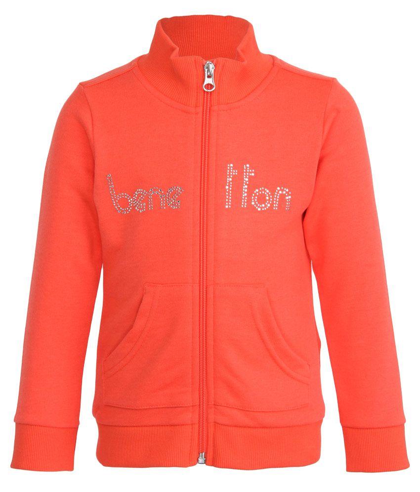 United Colors of Benetton Orange Zippered Sweatshirt