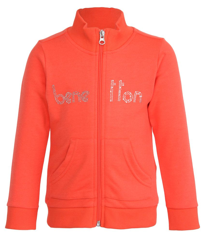 United Colors of Benetton Orange Zippered Sweatshirt