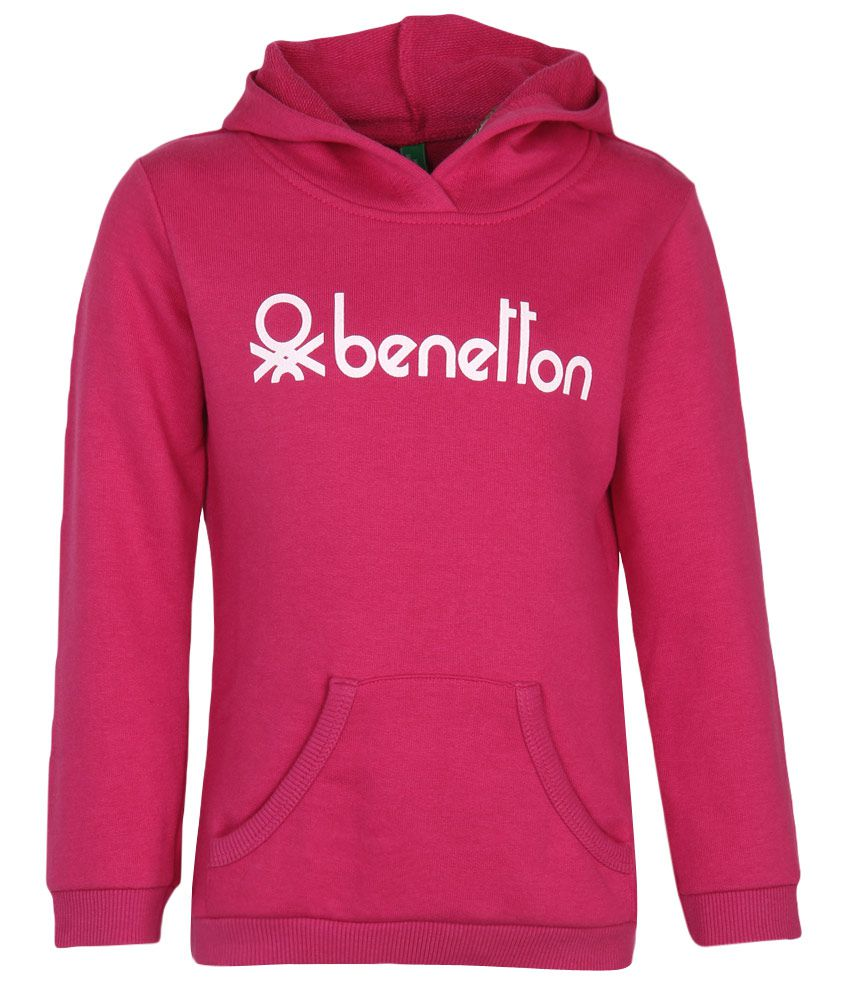 United Colors of Benetton Pink Printed Hooded Sweatshirt