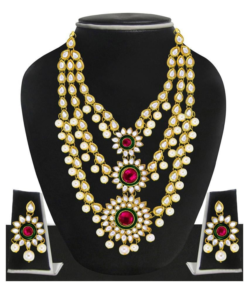 Zaveri Pearls Pink Designer Necklace Set