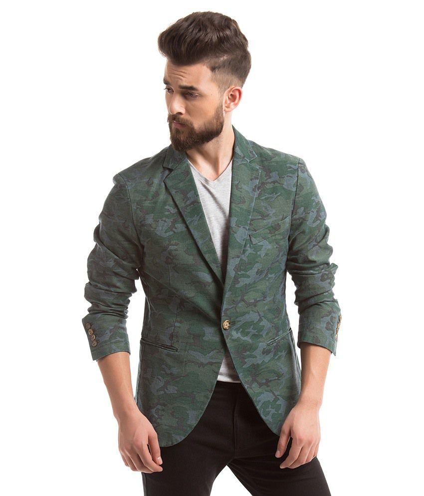Shuffle Green Casual Blazer