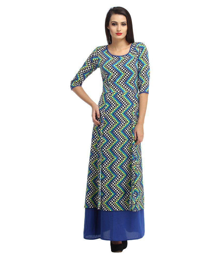 Cottinfab Multi Rayon Maxi Dress
