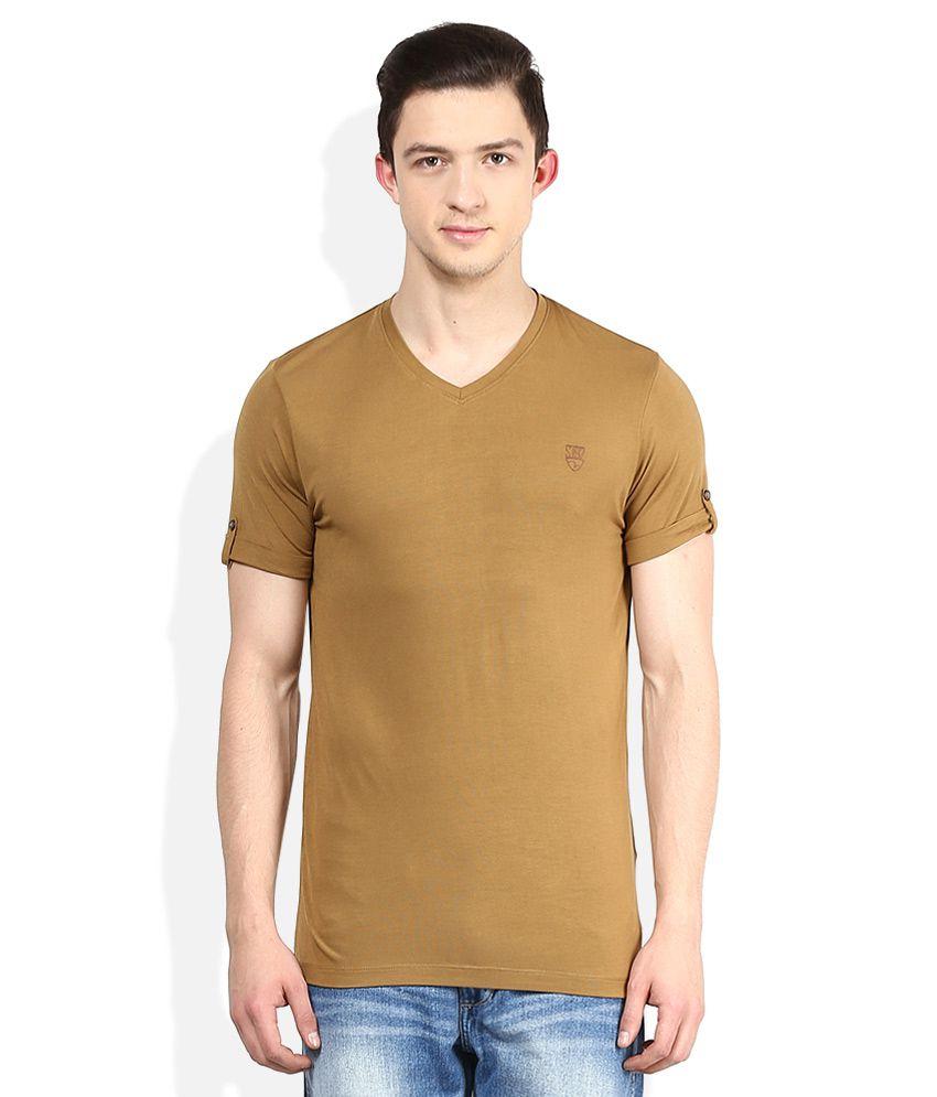 Spykar Khaki V-Neck Half Sleeves Solids T-Shirt