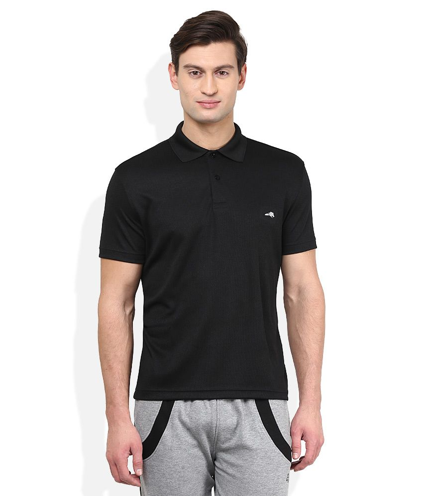 2go Black Solid Polo T-Shirt