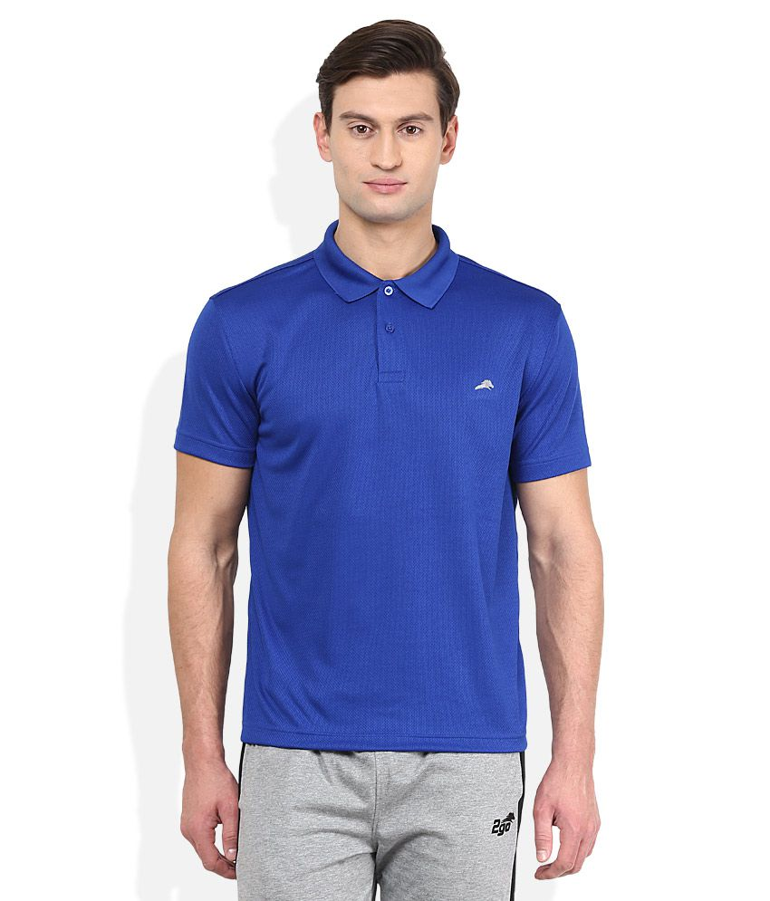 2go Blue Solid Polo T Shirt