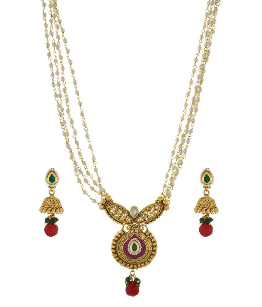 Shreenath Multicolour Alloy Bridal Necklace Set
