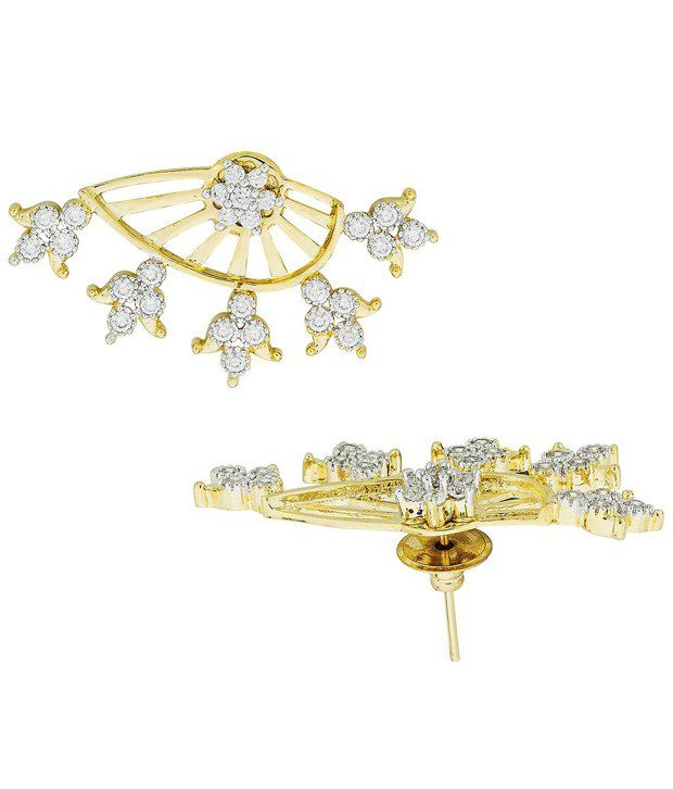 The Jewelbox Tri Flower 18K Gold Plated Ear Cuff Jacket Pair Stud Earring for Women