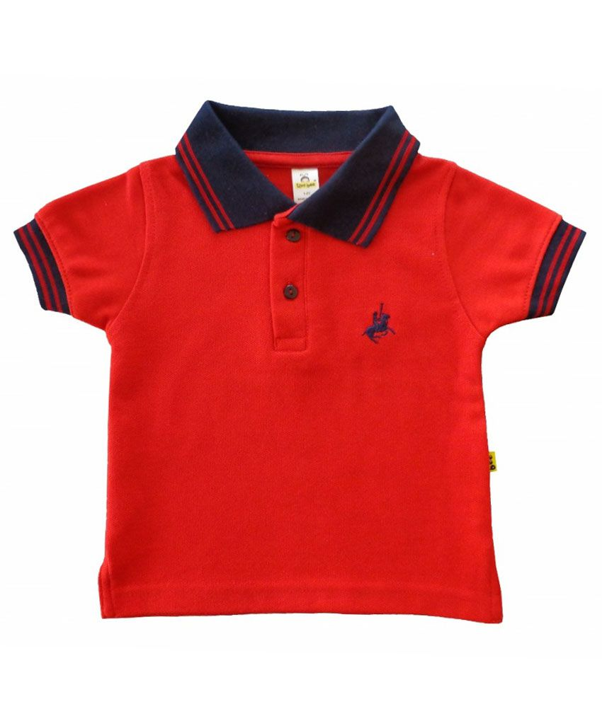 Tiny Bee Red Cotton Polo T Shirt