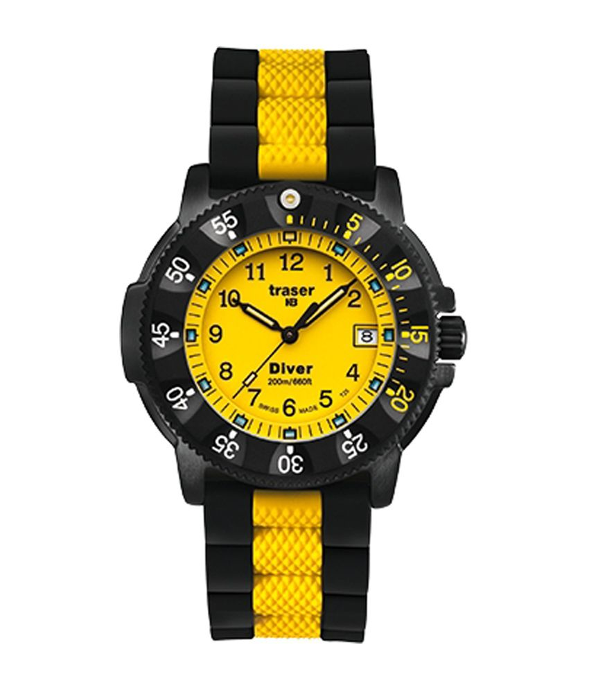 Traser Red Combat Swiss Watch With Rubber Strap Best Price