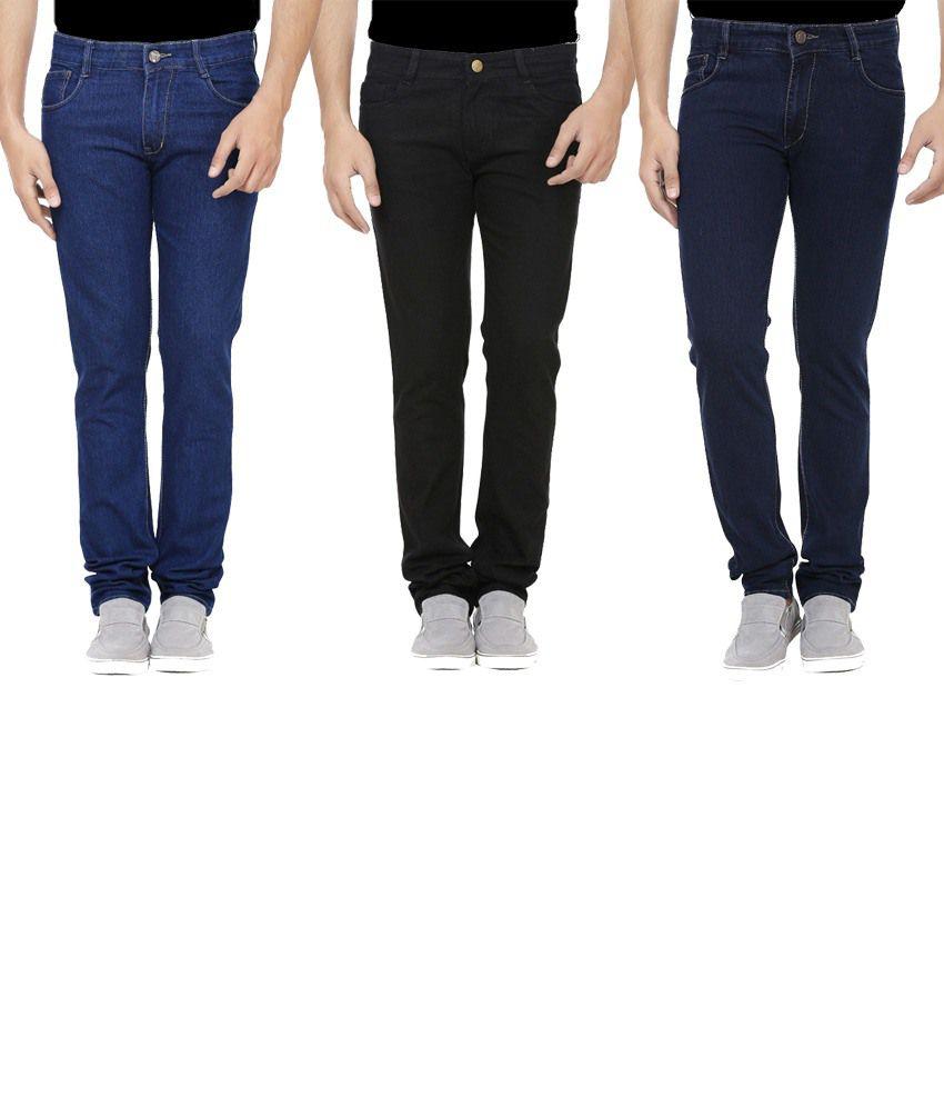 Ansh Fashion Wear Multicolour Regular Fit Jeans Pack Of 3
