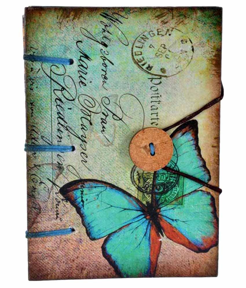 Craft Play Butterfly With Button Regular Diary Hand Sewn  Multicolour