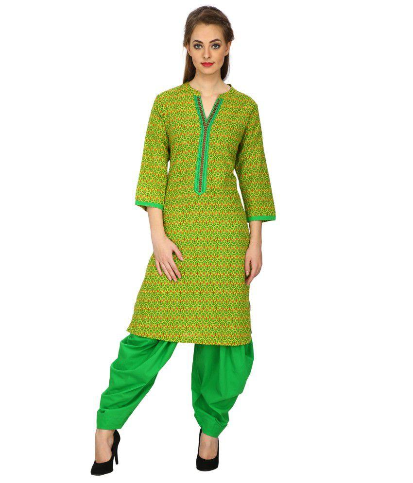 Ethnic Green Cotton Kurti