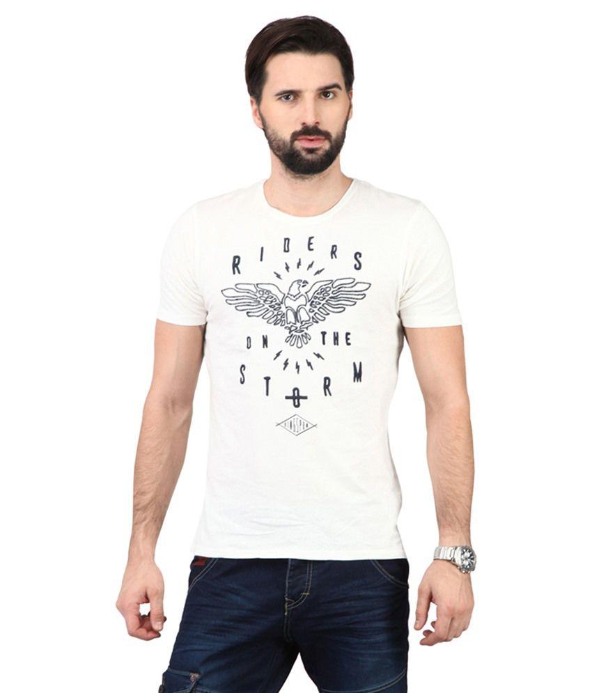Ringspun White & Black Cotton Blend T-shirt