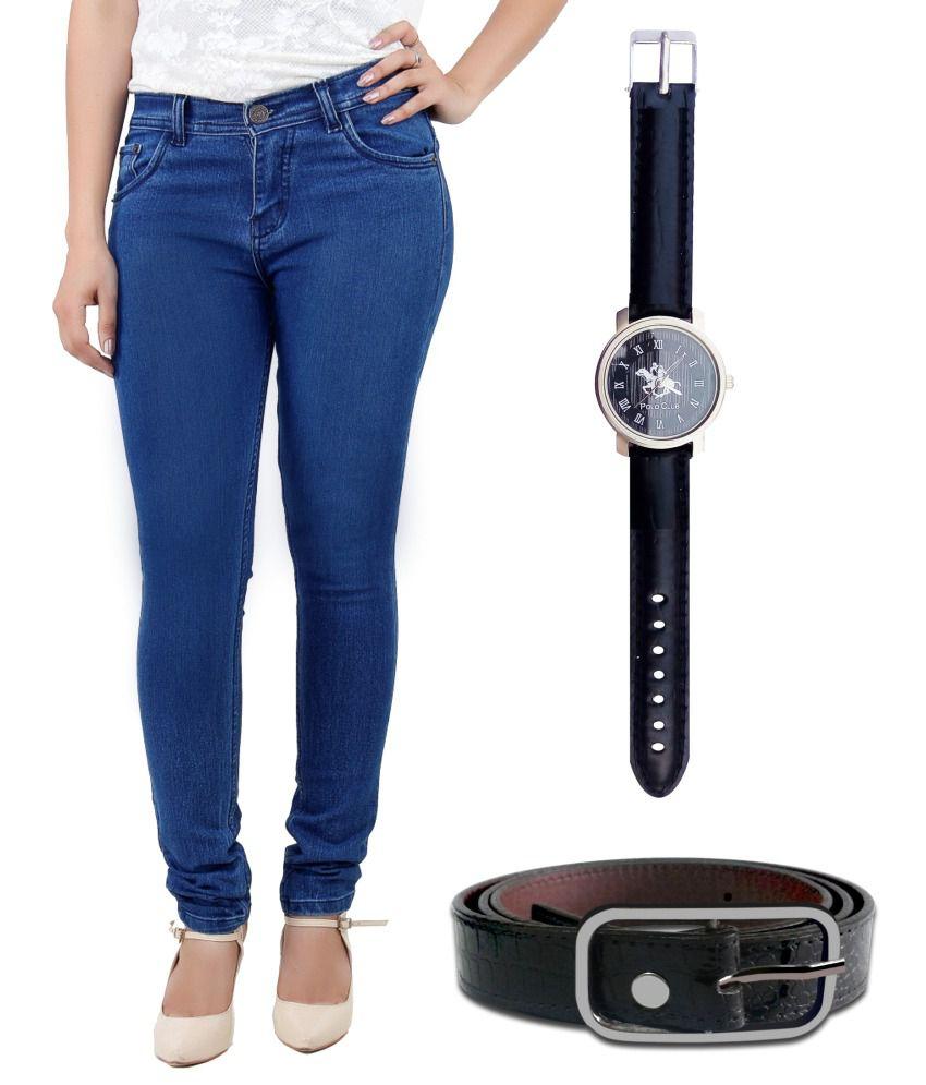 Haltung Blue Cotton Lycra Jeans