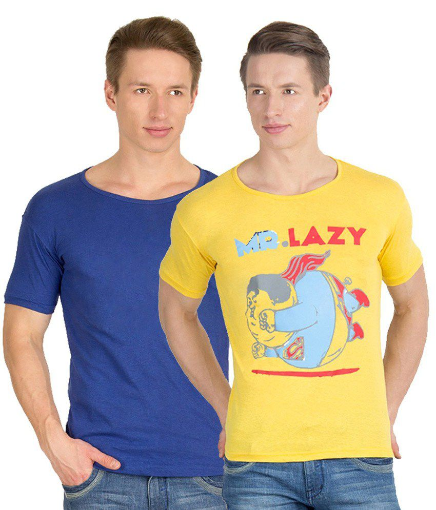 Incynk Yellow and Blue Cotton T-Shirt - Pack of 2