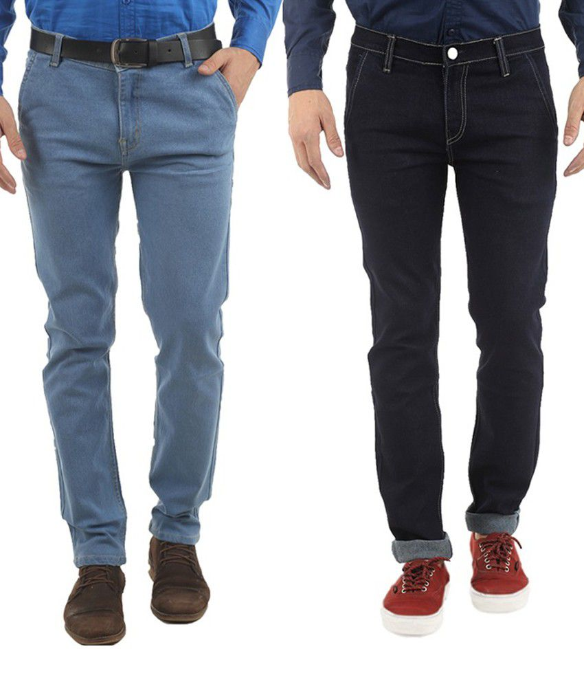 Western Texas 96 Blue And Black Slim Fit Jeans - Set Of 2