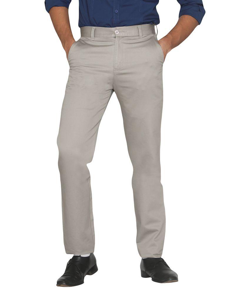 Canoe Grey Regular Fit Formal Flat Trouser
