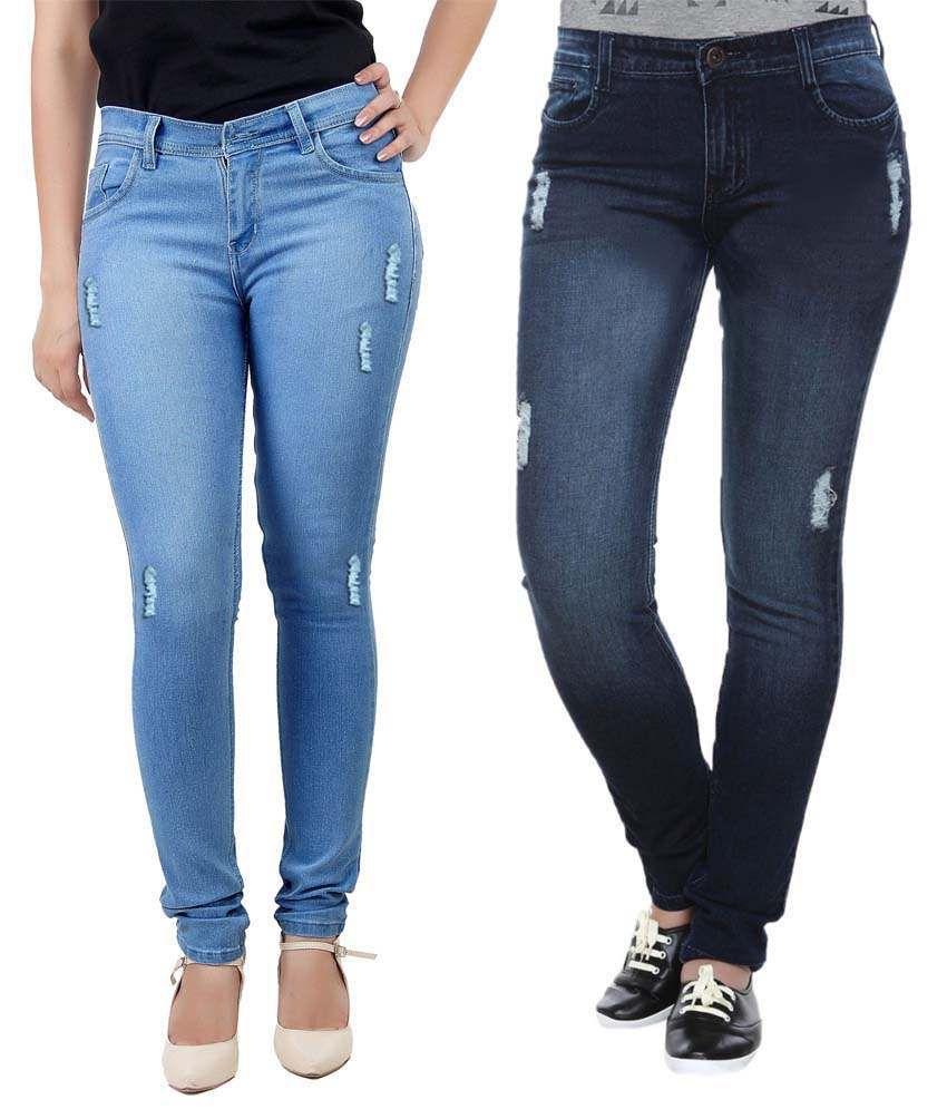 Haltung Blue Denim Lycra Fit Jeans - Pack Of 2