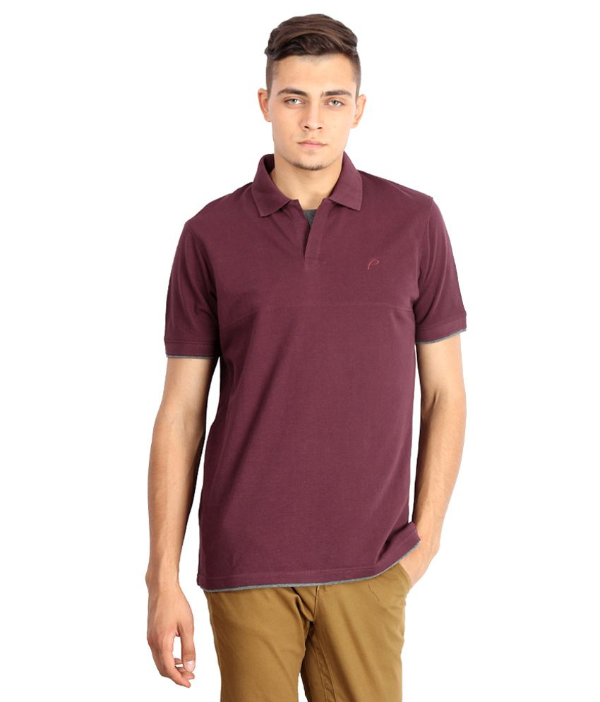 Proline Purple Solid Polo T Shirt