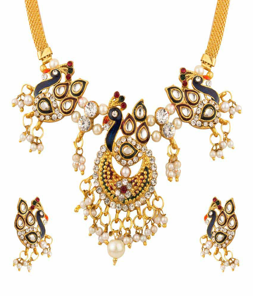 YouBella Traditional Dancing Peacock Necklace Set with Earrings for Women