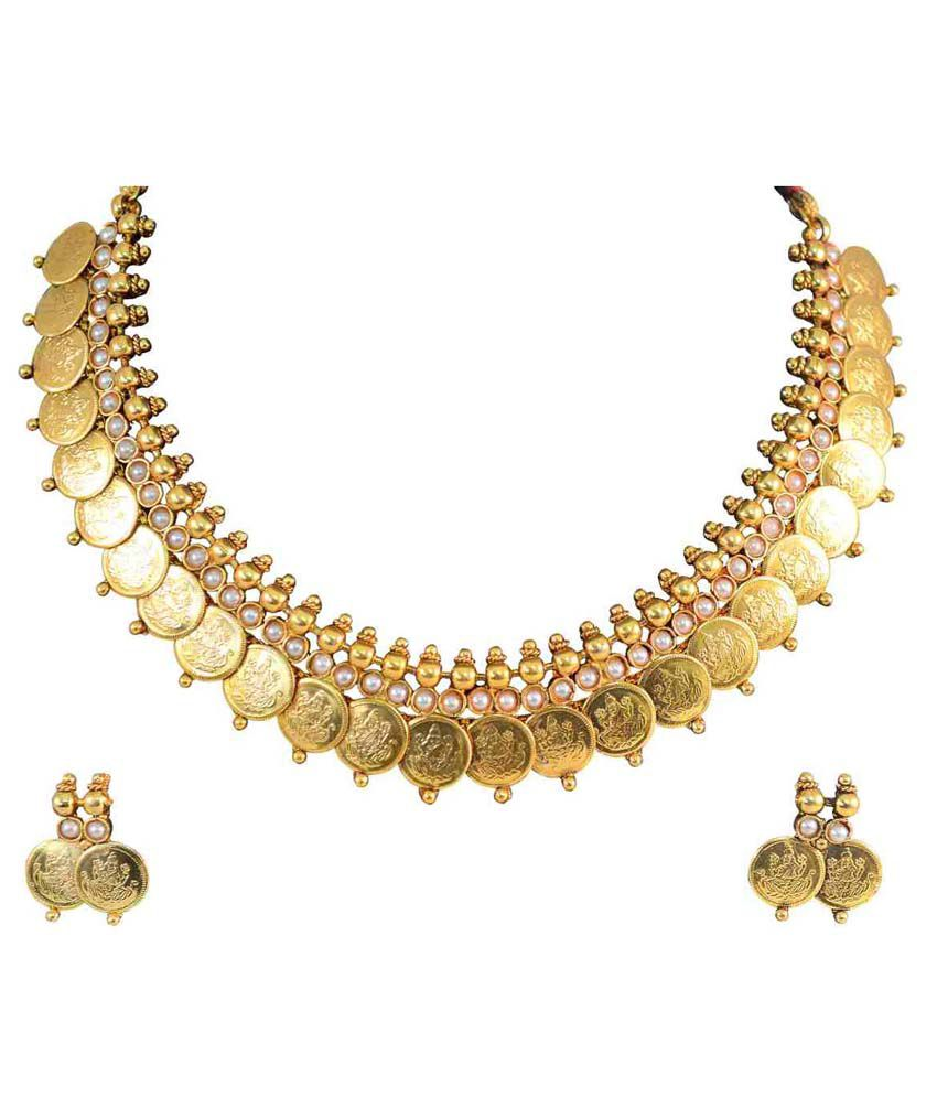 YouBella Traditional Pearl Temple Coin Necklace Set with Earrings for Women
