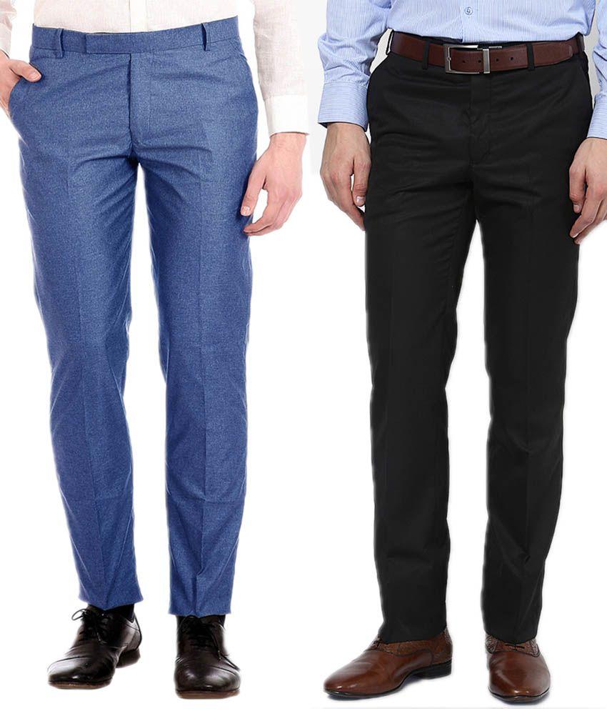 AD & AV Black And Blue Regular Fit Formal Flat Trousers Pack Of 2