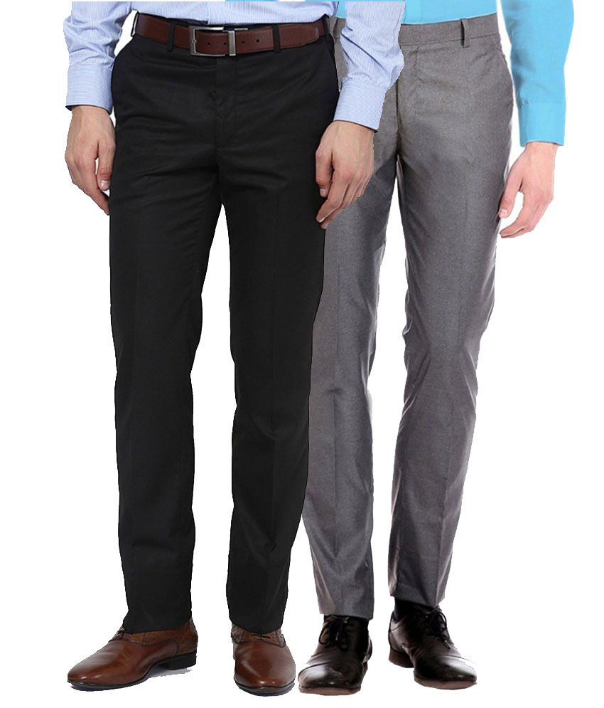 AD & AV Black And Gray Regular Fit Formal Flat Trousers - Pack Of 2