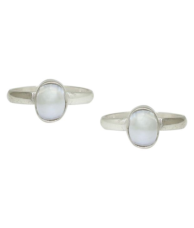 Frabjous White Alloy Designer Toe Ring