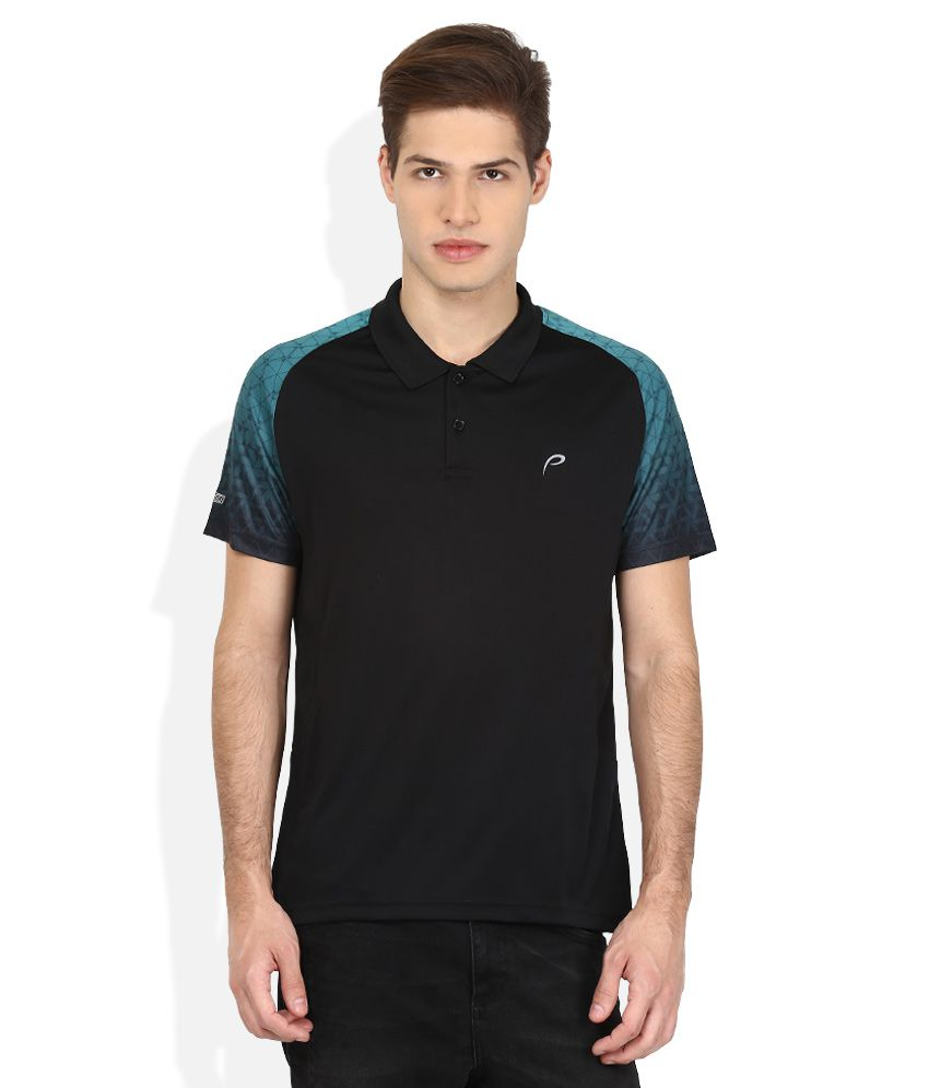 Proline Black Solid Polo T Shirt