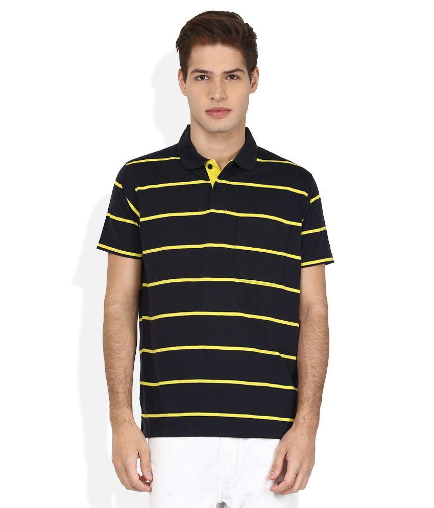 Proline Black Striped Polo T Shirt