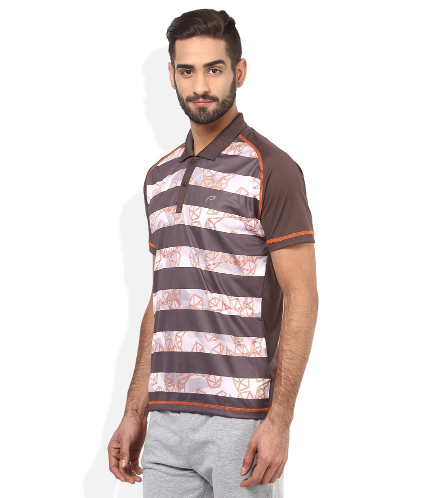 Proline Brown Striped Polo T Shirt - Buy Proline Brown ...