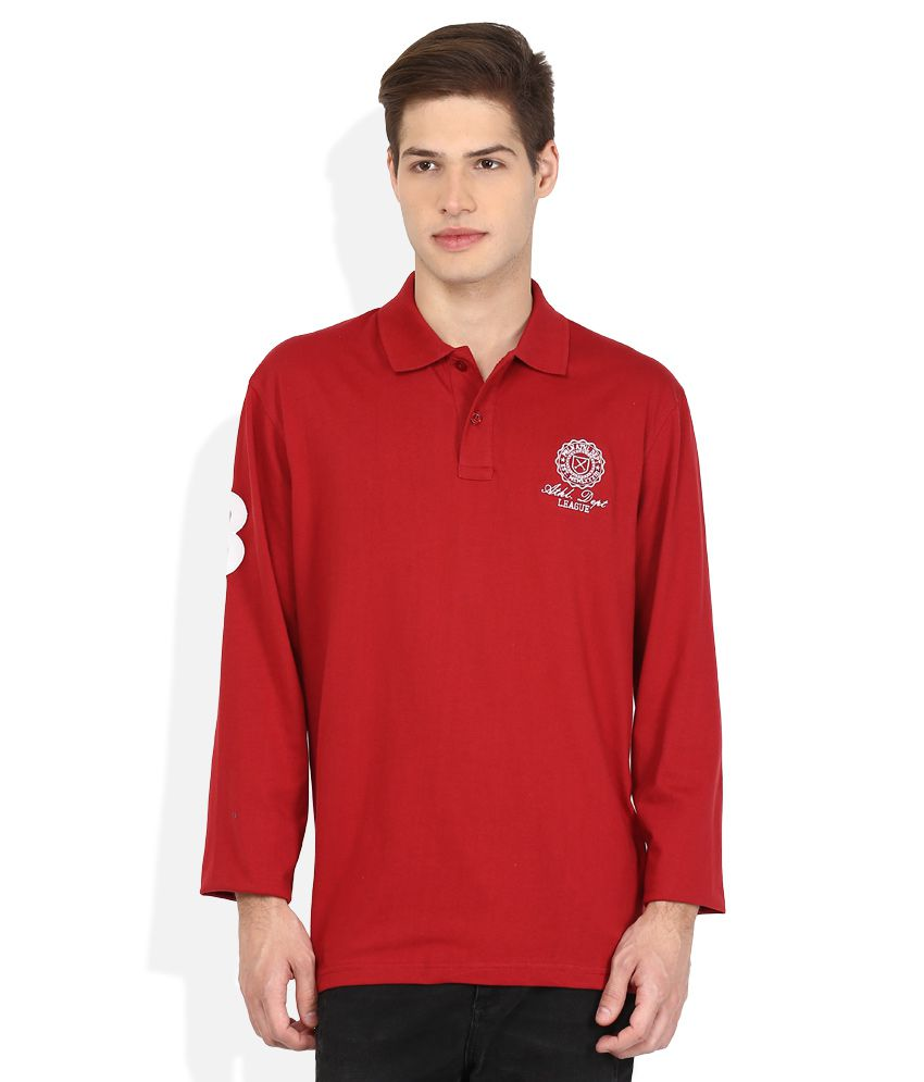 Proline Red Solid Polo T Shirt