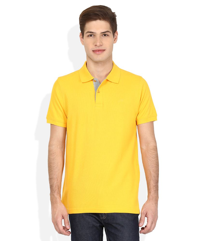 Proline Yellow Solid Polo T Shirt