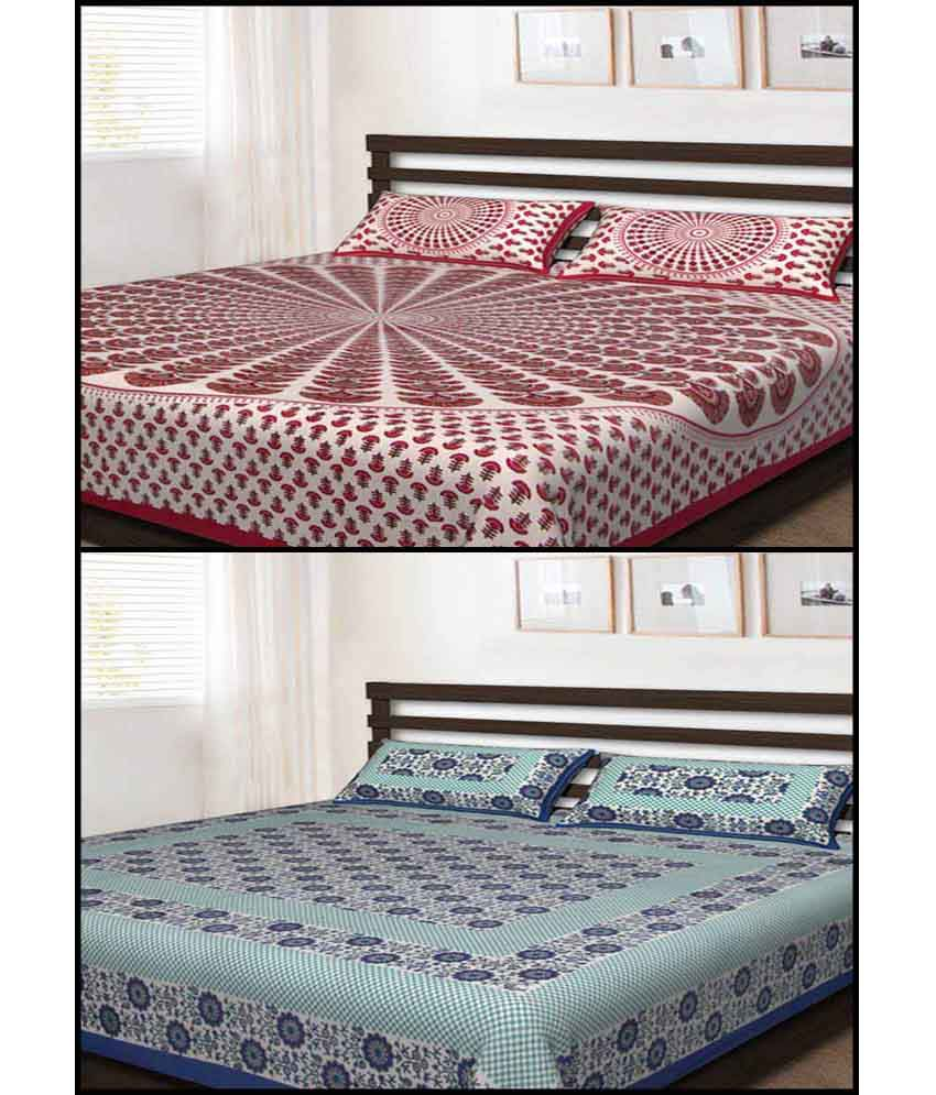 Uniqchoice Multicolour Traditional Cotton 2 Bed Sheets With 4 Pillow Covers