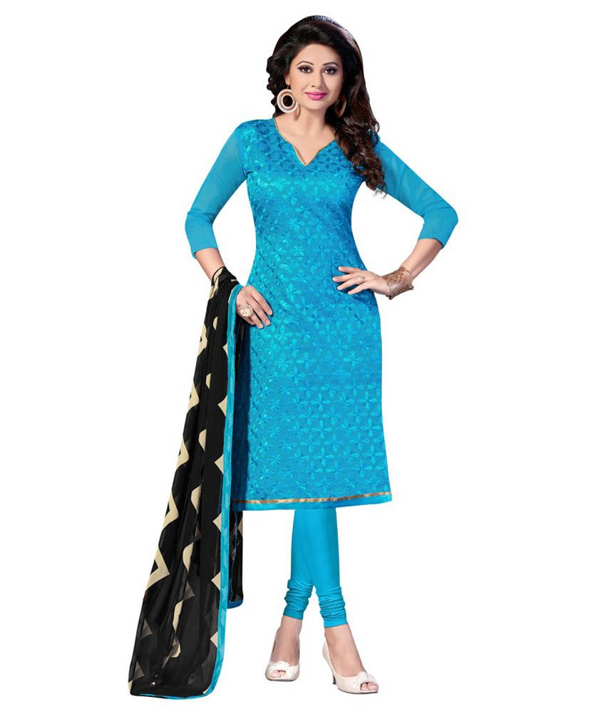 Apple Creation Turquoise Chanderi Unstitched Dress Material