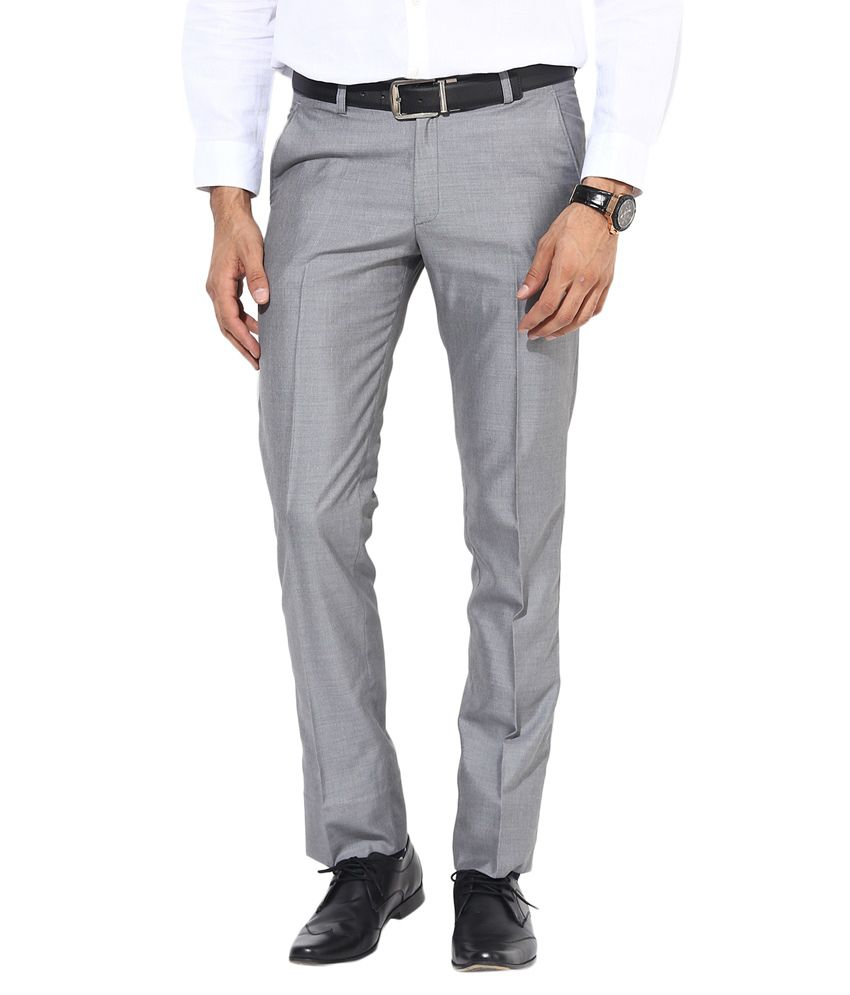 Bukkl Slim Fit Grey Formal Trousers