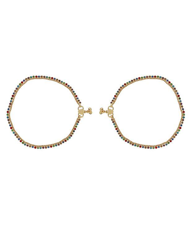 Kauberi Jewels Gold Pair of Anklets