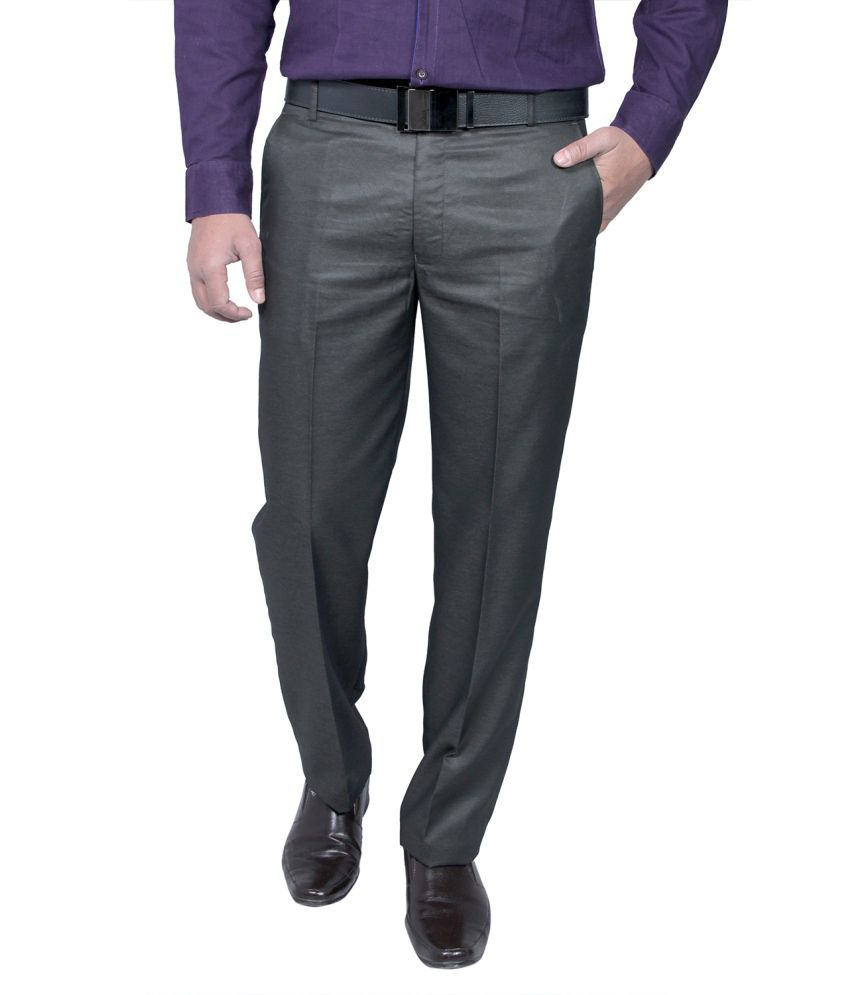 Routeen Grey Slim Fit Formal Pleated Trousers
