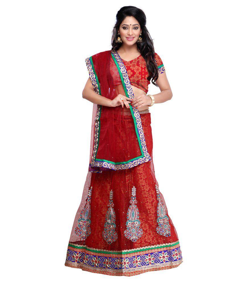451506c7cc Nolimitshop Red Brocade Lehenga - Buy Nolimitshop Red Brocade Lehenga Online  at Best Prices in India on Snapdeal