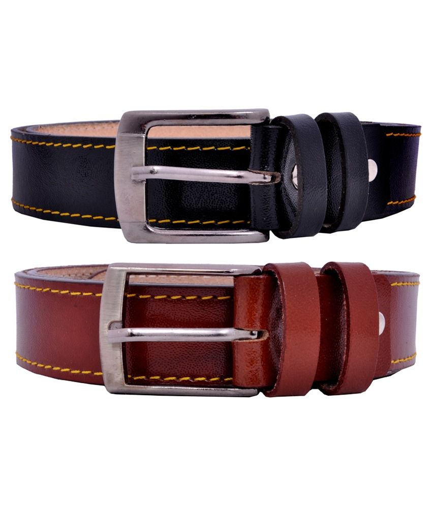 Crazee Wear Brown And Black Leather Belt For Men - Pack Of 2