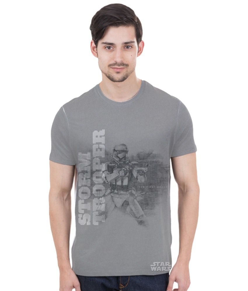 Freecultr Express Gray & White Storm Trooper Printed T Shirt