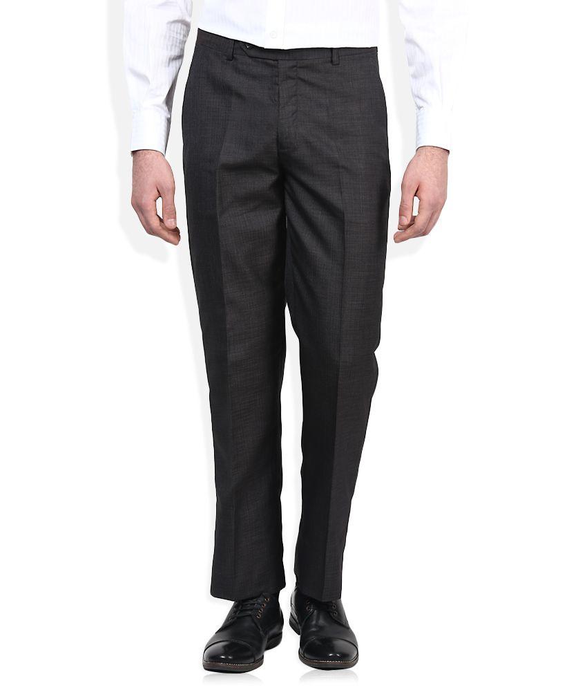 John Players Black Regular Fit Formal Trousers